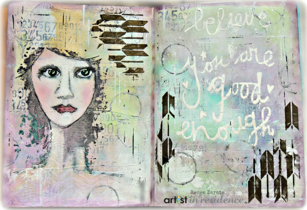 Art Journal page by Renee Zarate using several layers of inks and paints and stamps and colors including StazOn Solvent inks.