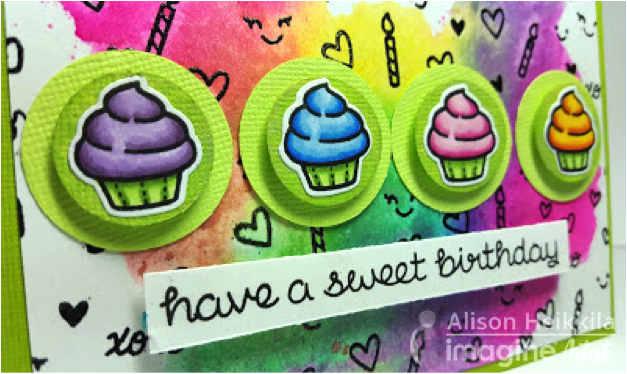 Close-up of the small details added to the background of this cupcake and sweet themed birthday card using VersaFine Onyx Black on this handmade card by Alison Heikkila.