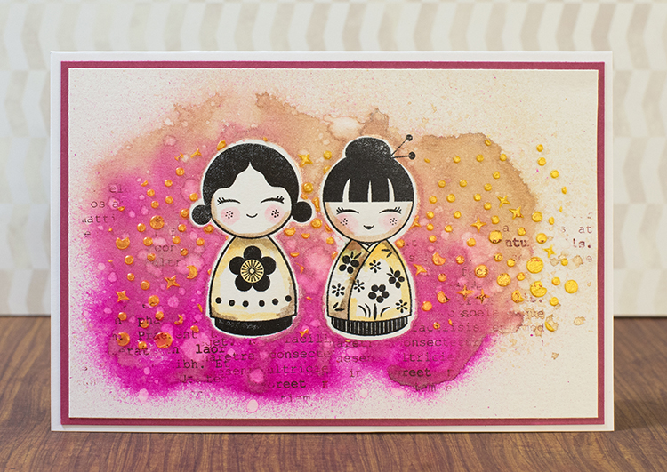 Handmade card by Elina Stromberg featuring doll images and a background made with Creative Medium and Fireworks Shimmery Craft Spray.