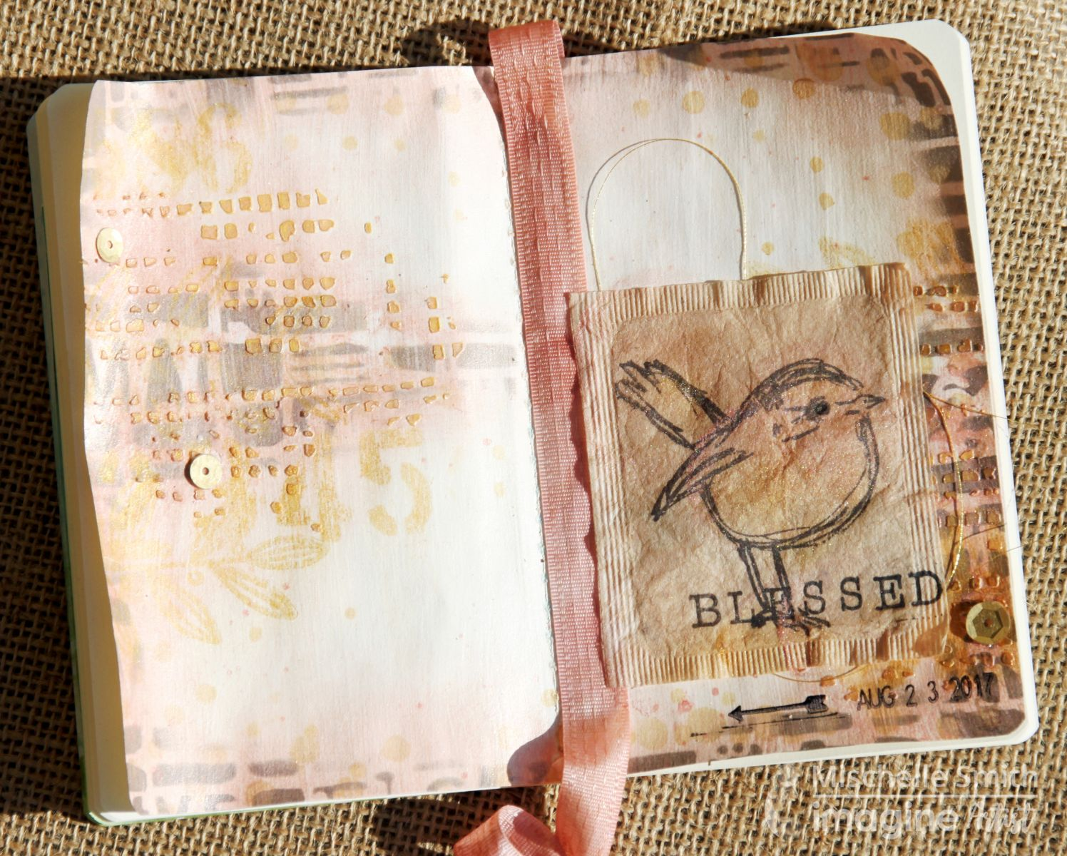 Blessed mixed media journal layout featuring gold creative medium applied through a patterned stencil.