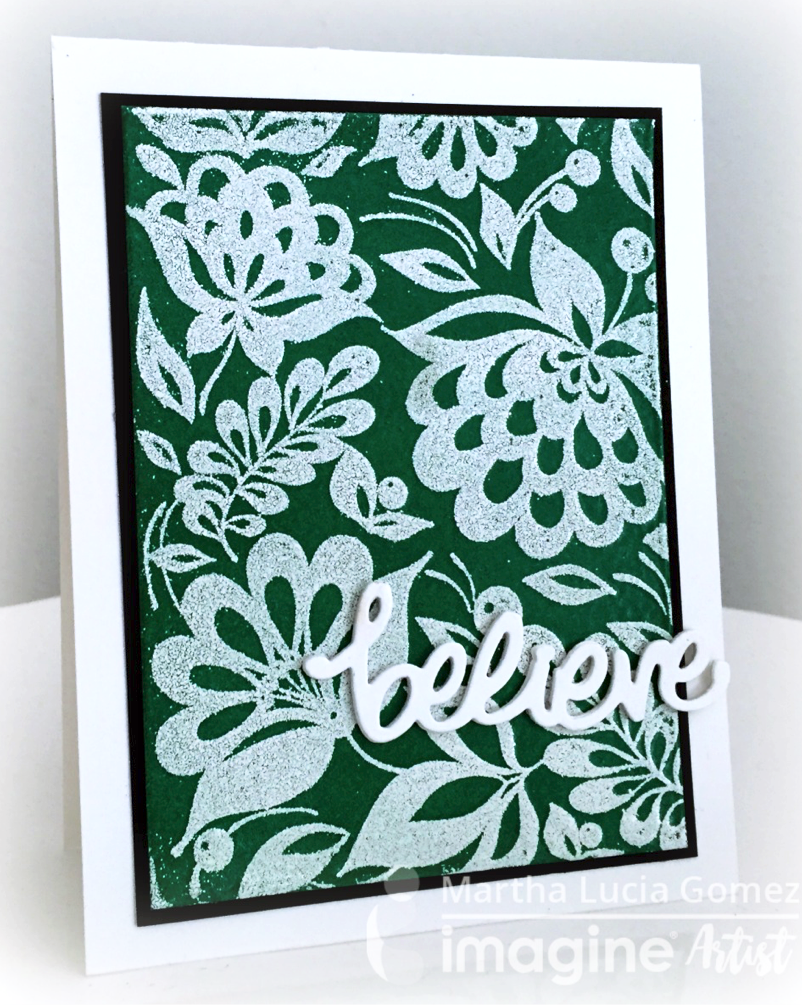 A striking example of how to get a unique and stunning card using a double emboss technique with candy green and white embossing powders.