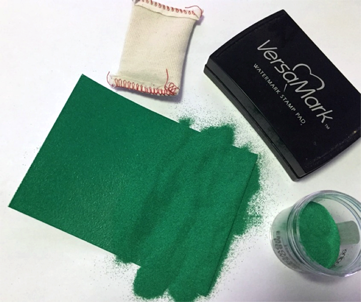 VersaMark, green and white embossing powder