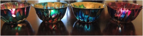 Votive candle holders made with plastic bowls and StazOn Studio Glaze by Renee Zarate.