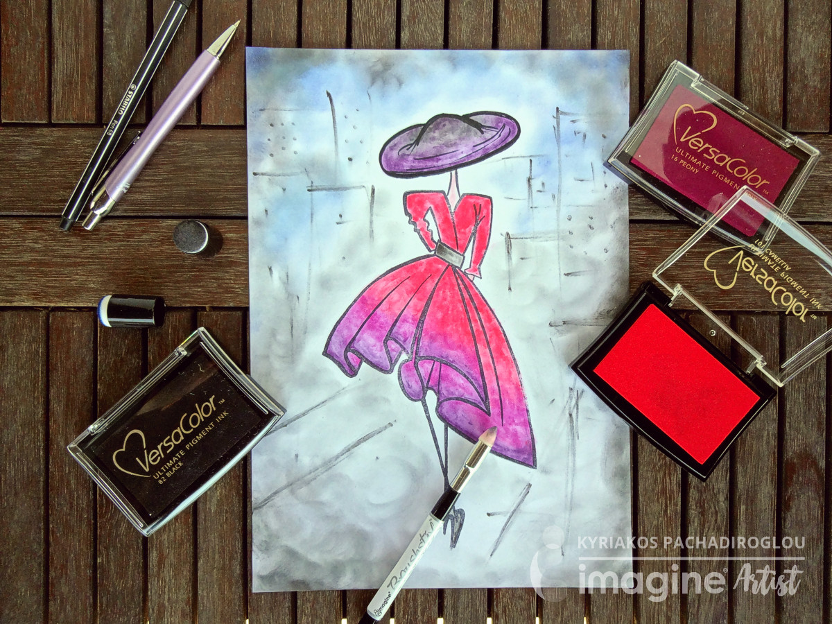 Kyriakos of The Crafters World colors in a dress sketch with VersaColor Inks and a Brushstix.