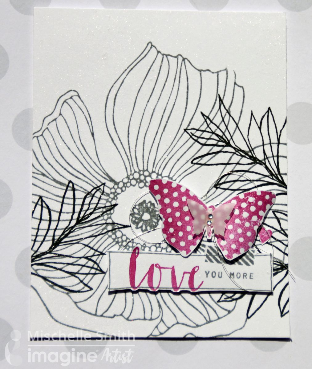 Mischelle Smiths handmade card featuring floral images stamped with Memento inks, a pop of pink in a butterfly and Sheer Shimmer added as a finishing touch.