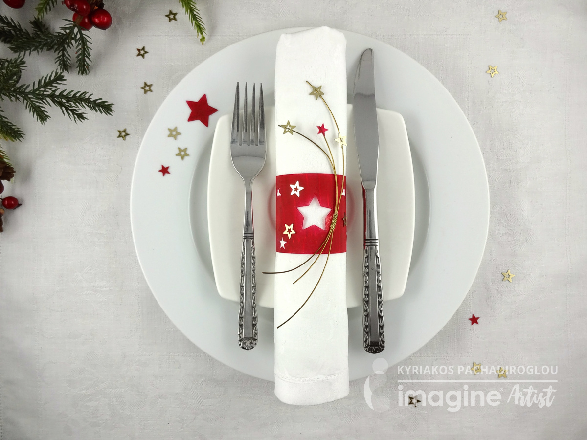 Festive napkin rings handmade with Imagine's Vertigo Sheets and Tuskinekos StazOn ink with star embellishements by Kyriakos of The Crafts World.