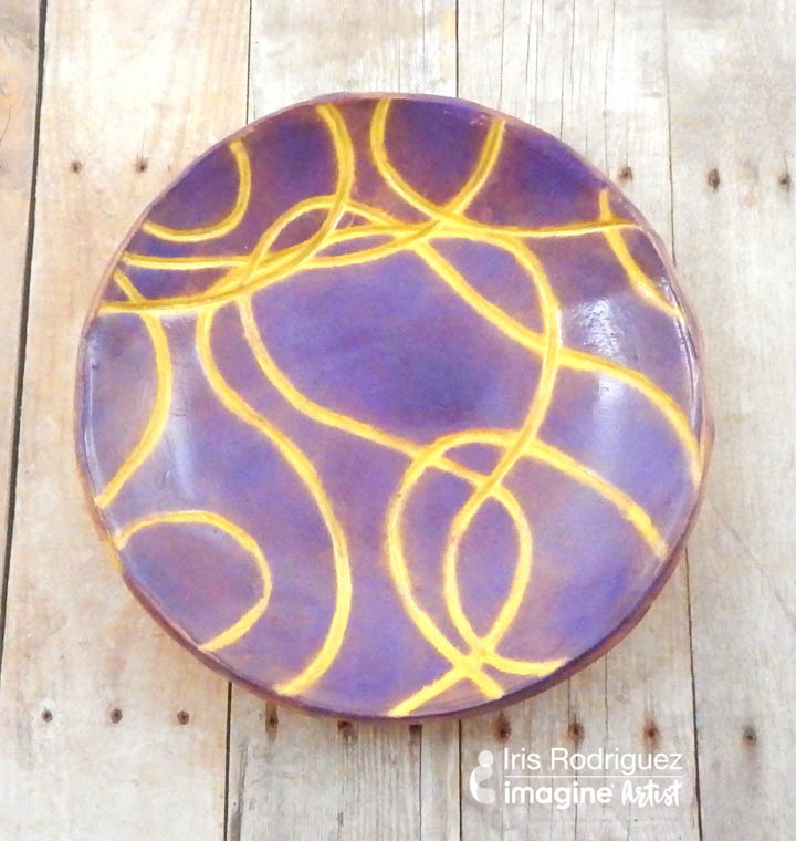 purple and yellow string pattern handmade bowl would work great as a gift