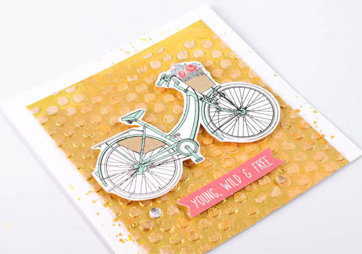 "Kaisercraft – Bicycle image, ""Young, Wild & Free"" embellishments"