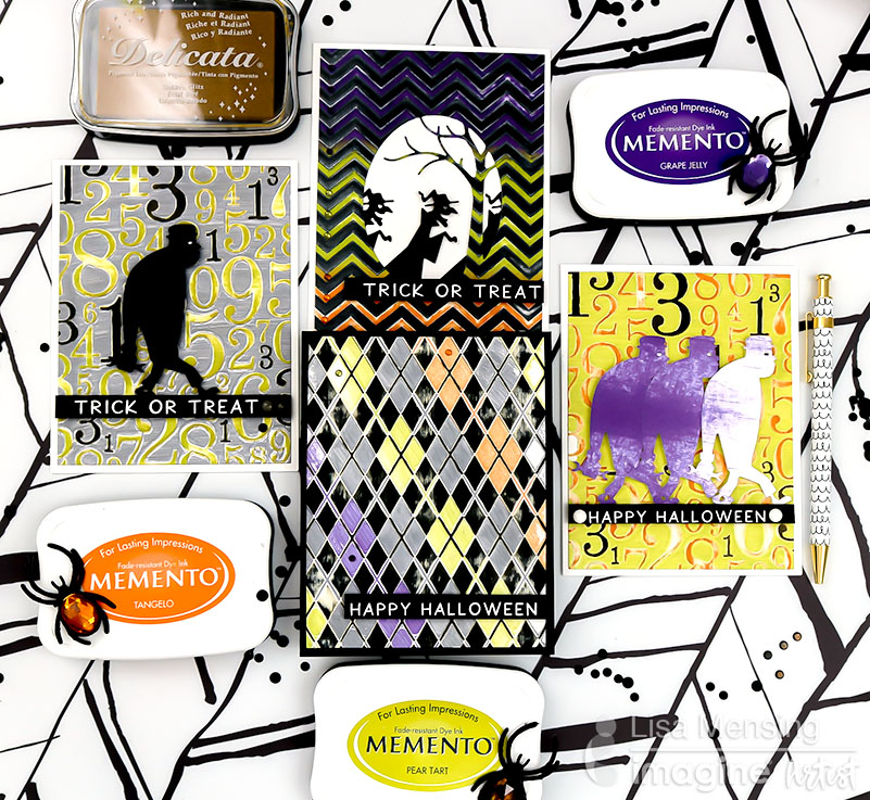 Use Memento dye inks with direct-to-paper techniques to create a distressed look across several card backgrounds such as a numbers theme, an Argyle plaid theme, and a chevron style. These matching trick or treat cards are perfect to pair with candy and gifts for Fall!