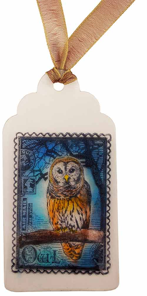An owl image tag created using StazOn inks and GlazOn protectant layer between each color.