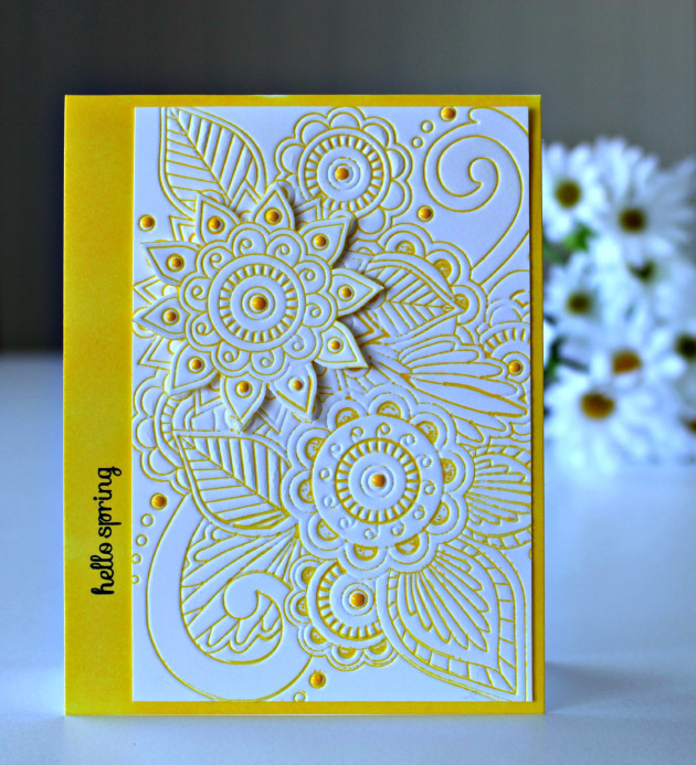 Handmade card featuring an embossed intritcate floral design enchanced by texture dots added on using irRESISTible Pico Embellisher.