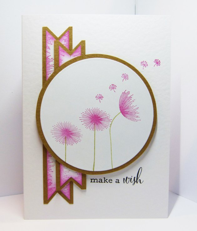 "Handmade card featuring a dandelion image and ""make a wish"" sentiment made with Memento Luxe inks."