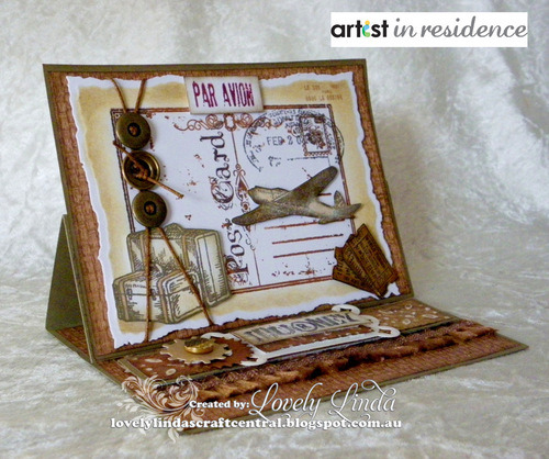 Handmade aviation themed card by Linda Lucas featuring images stamped with VersaFine inks.