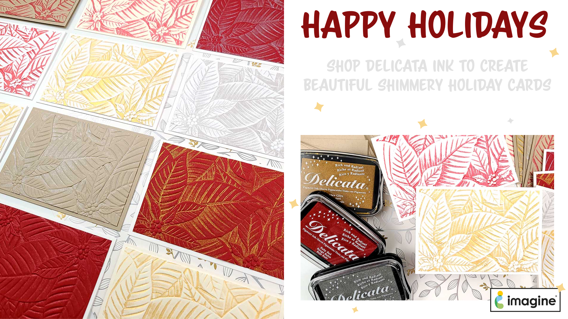 Delicata in Gold, Ruby Red and Silver for Holidays, Christmas Cards