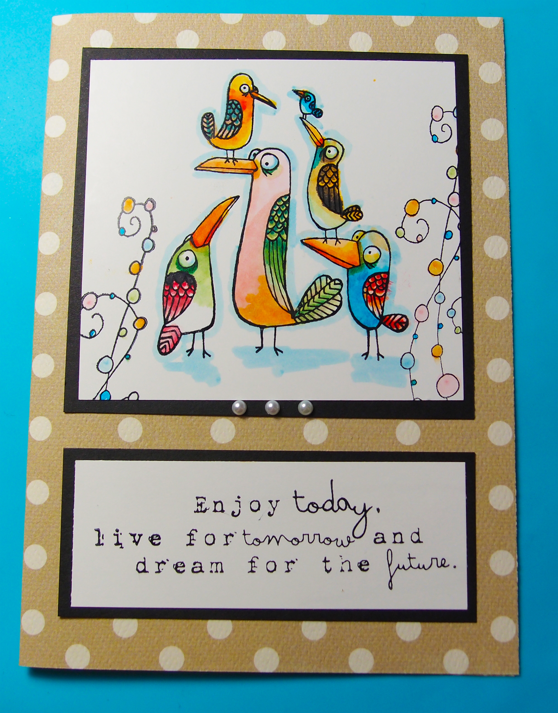 Memento Markers and StazOn to Make a Whimsical Birds Card