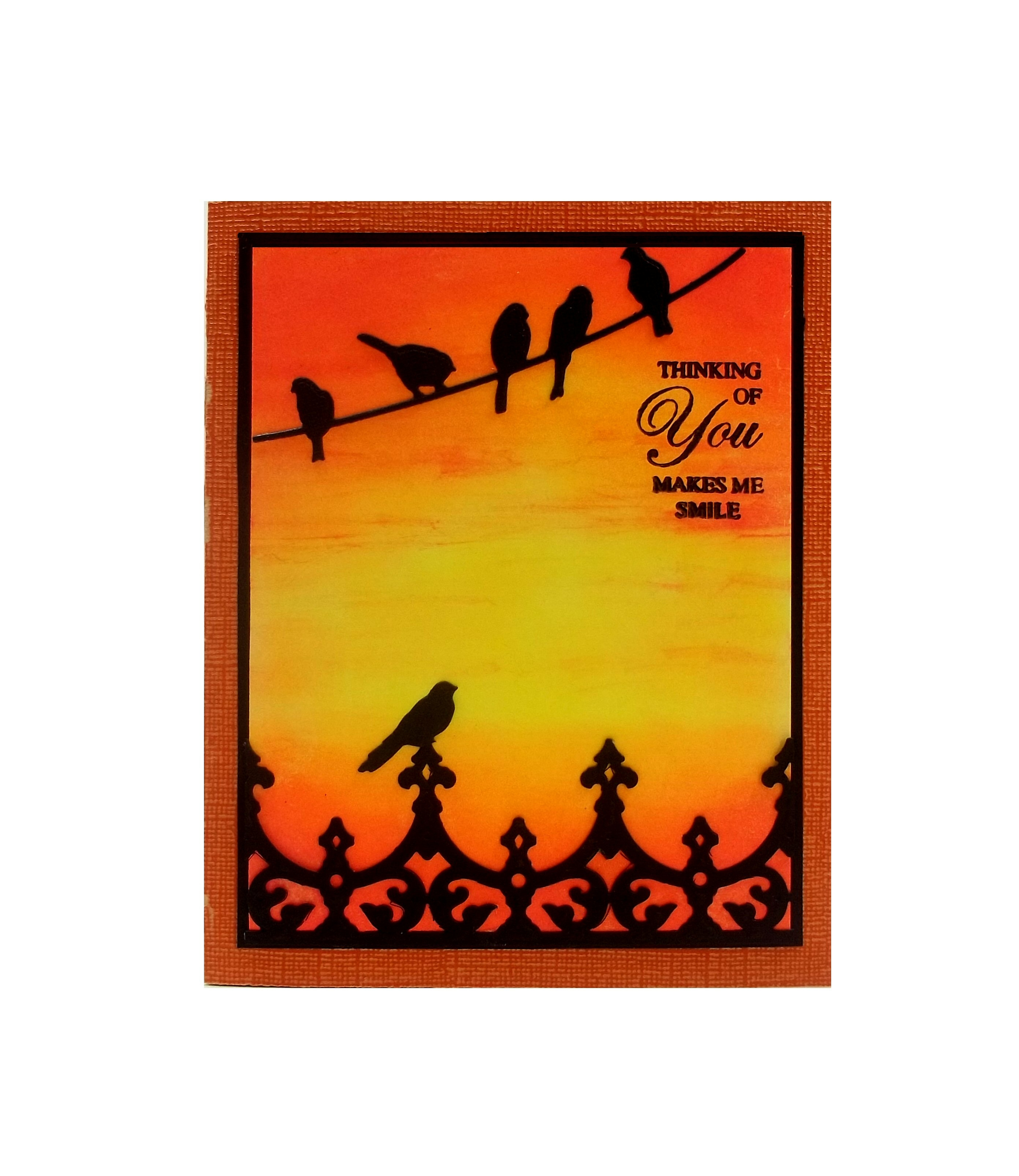 Sunset Birds On A Wire Card with Radiant Neon Ink