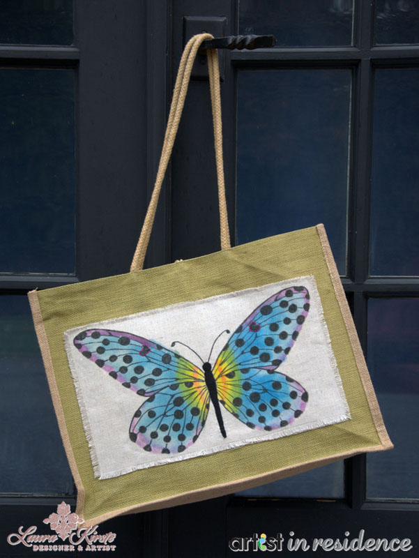 Butterfly Canvas Tote Bag Craft Project with All Purpose Inks