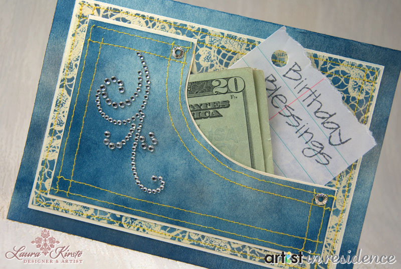 Denim Pocket Card for Cash Gifts crafting and stamping