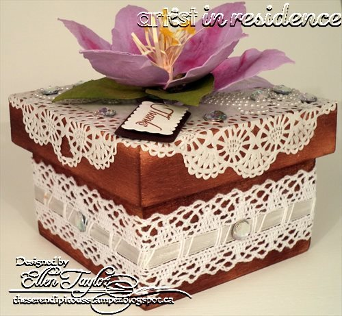 Lace Country and Garden Gift Box with large paper flower