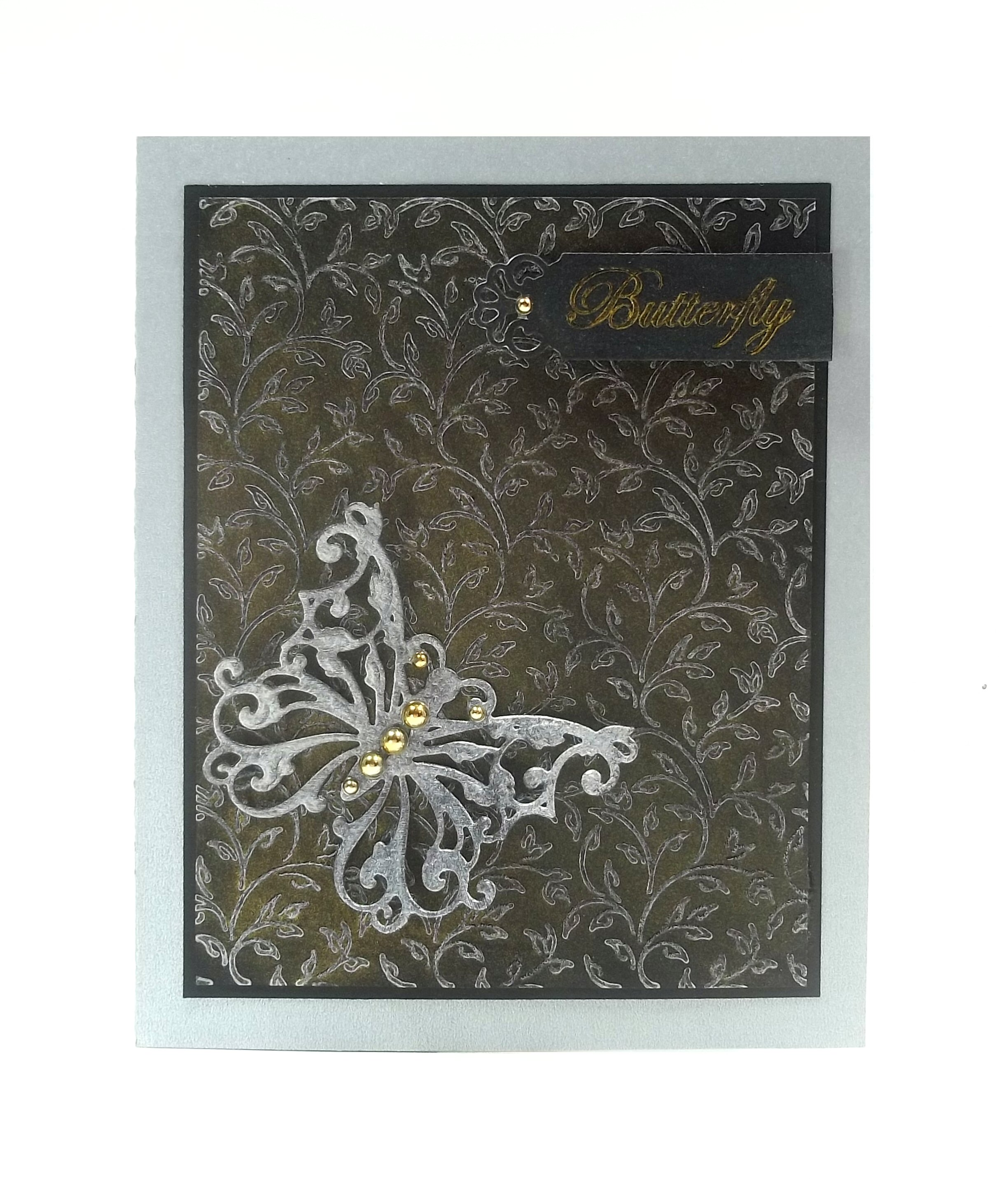 Silver Delicata Butterfly on Black Greeting Card