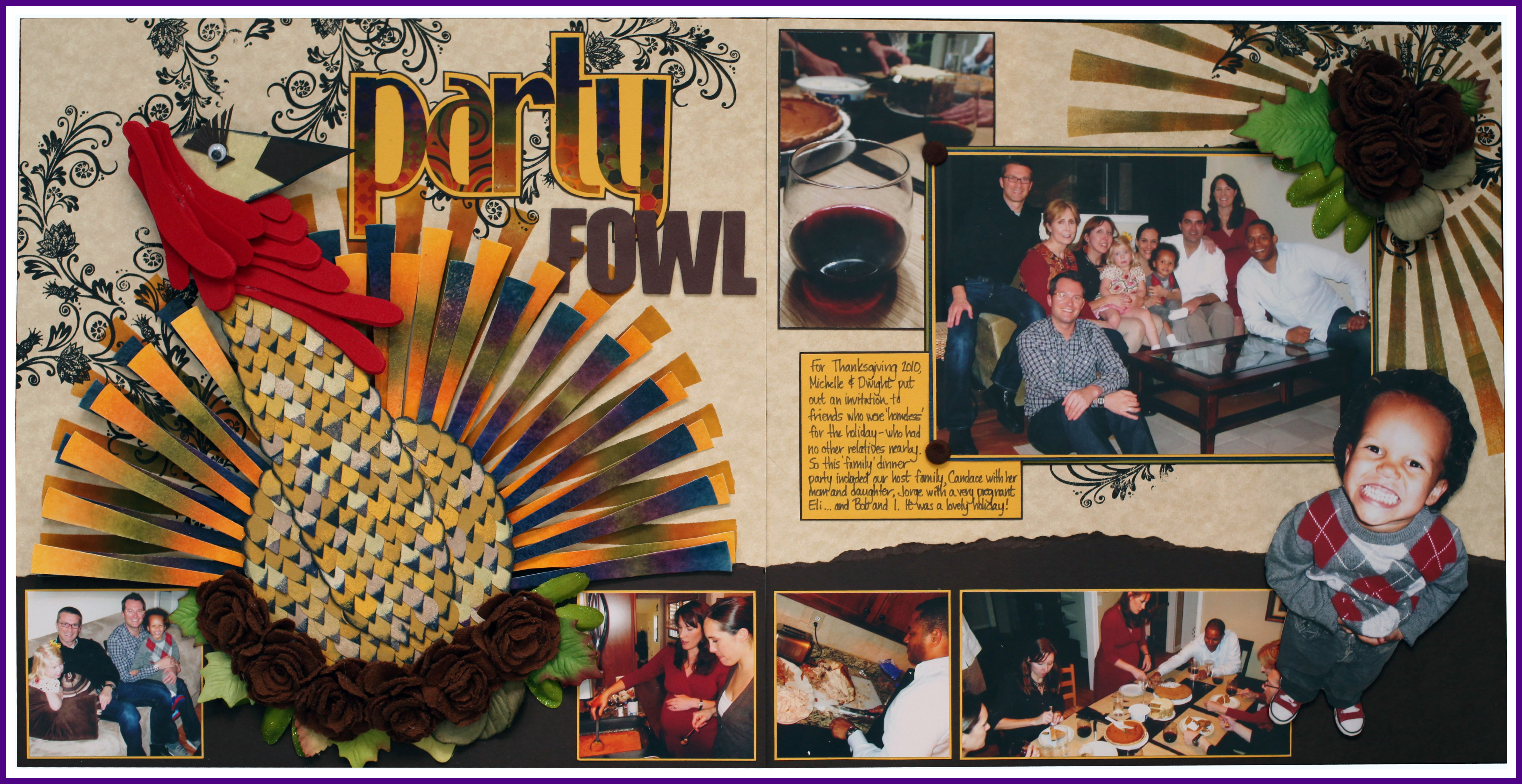 Party Fowl Thanksgiving Scrapbook Layout