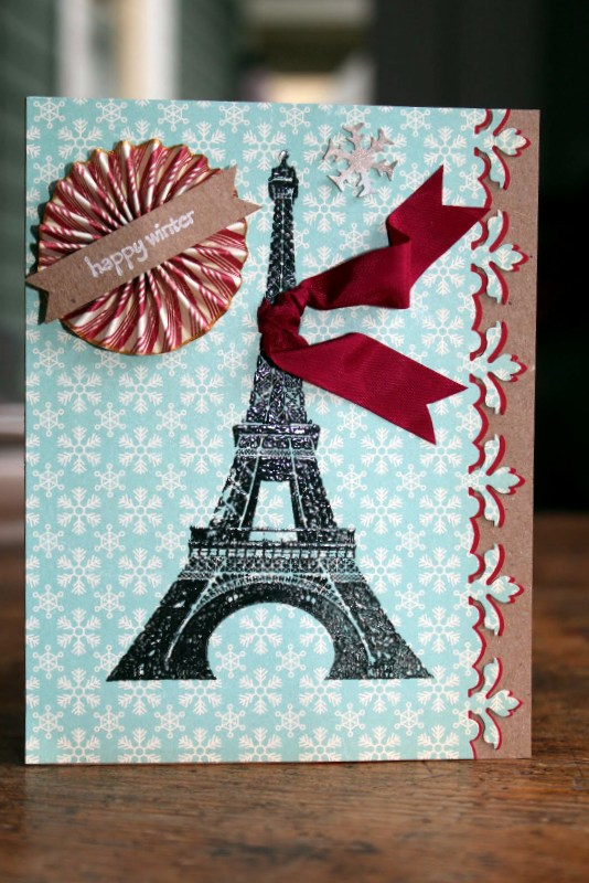 VersaFine and Embossing to Make a Winter in Paris Card