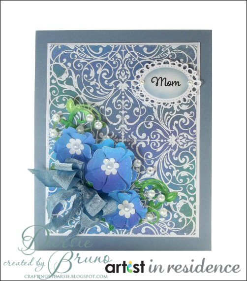 For Mom - Ornate Navy Blue Card with Paper Flowers