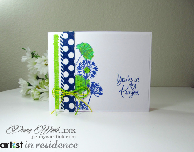 Memento Ink for a Navy and Lime Thinking of You Card