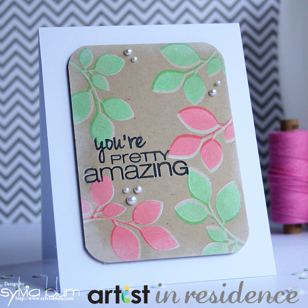 Amazing Neon Pink and Green Card on Kraft Cardstock