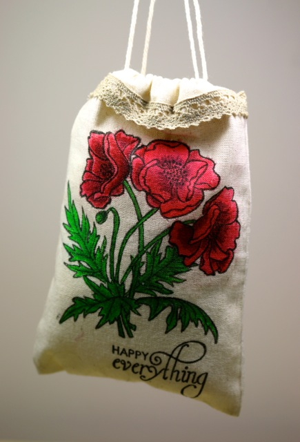 Hand Colored Flower Fabric Gift Bag