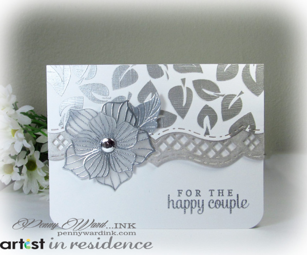 Happy Couple Wedding Card in Silver