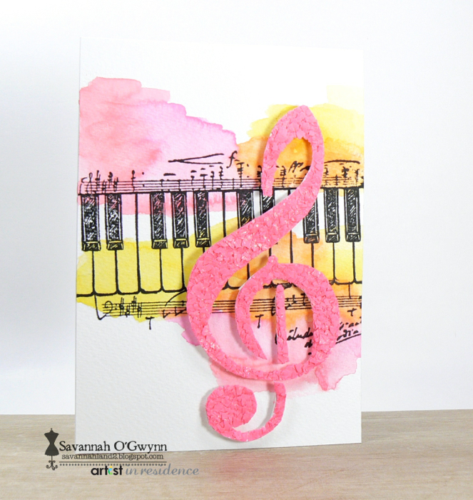 Watercoloring a Music Theme Card with Radiant Neon Inks