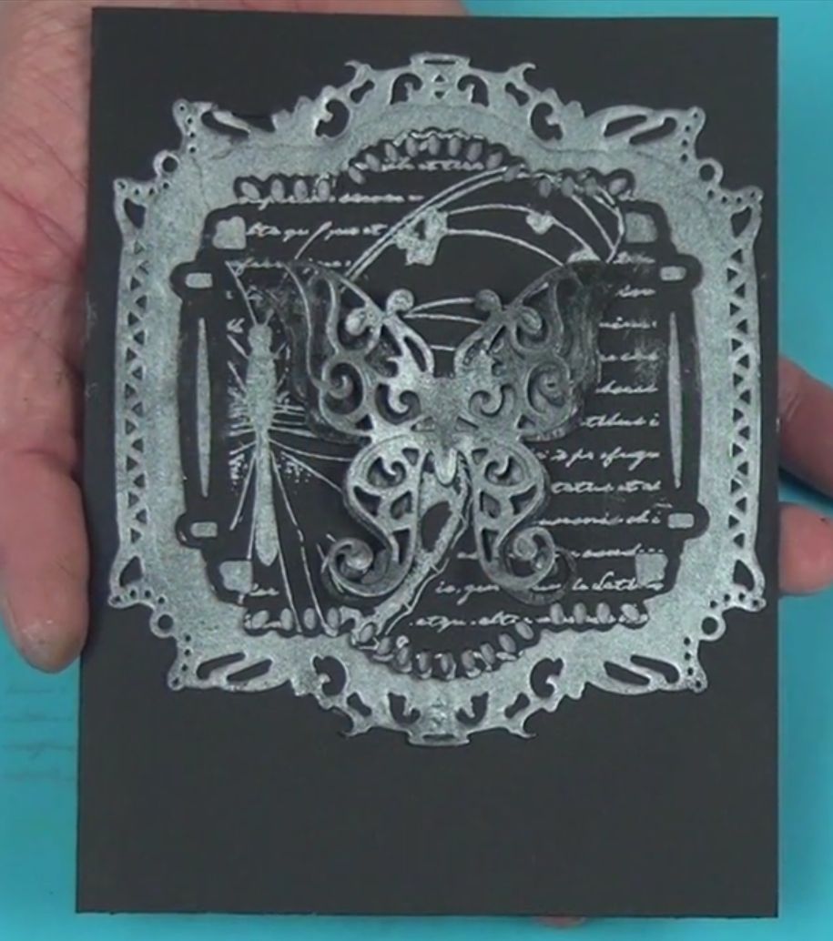Just one color of metallic ink on black paper can create a striking card