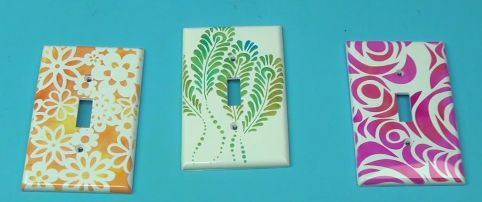 Dressed Up Light Switch Plates with Stenciling and StazOn Ink