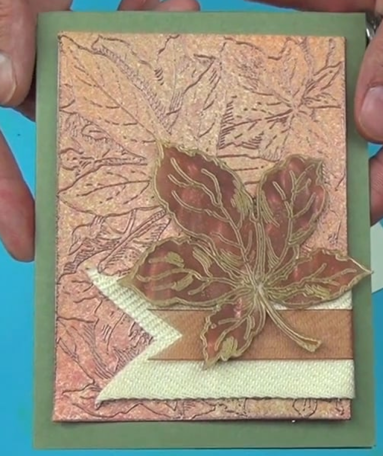 Brilliance Ink for a Shimmery Autumn Leaf Card