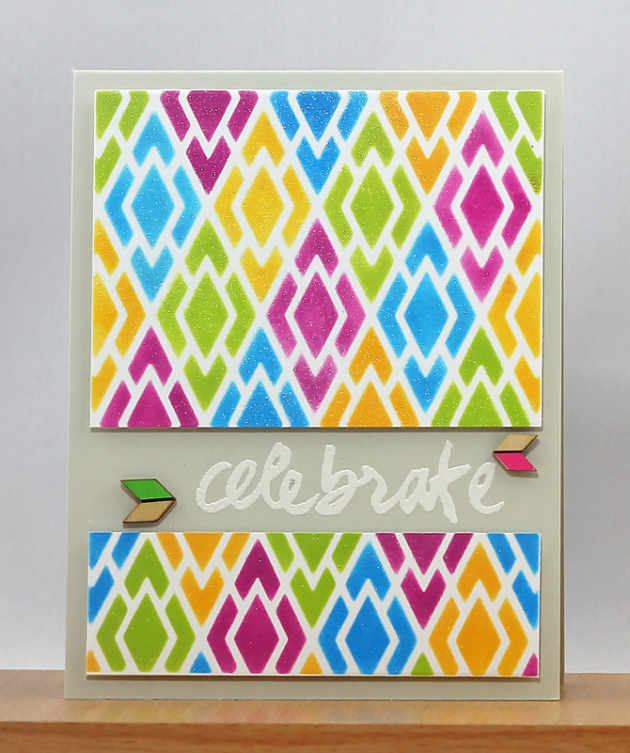 Sponge Daubers to Stencil this Shimmering Celebration Card