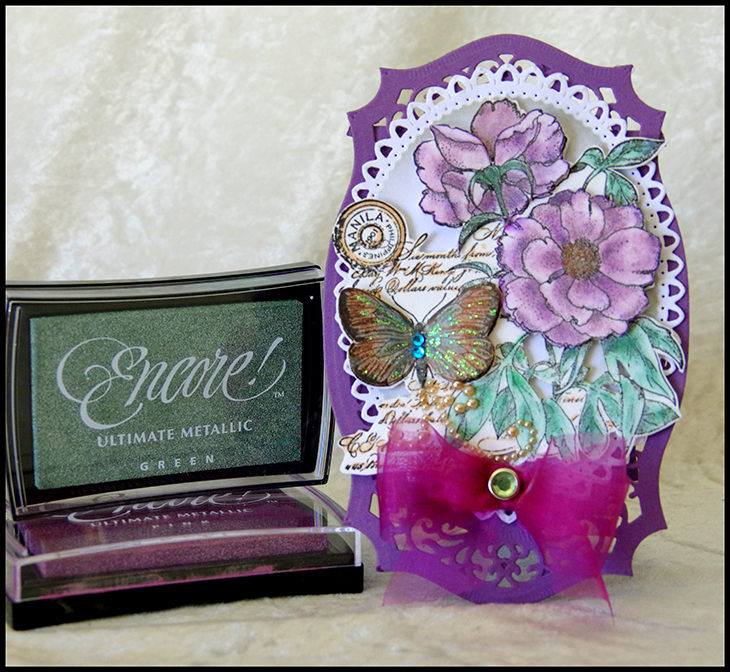 Coloring with Encore Inks - Butterfly Card