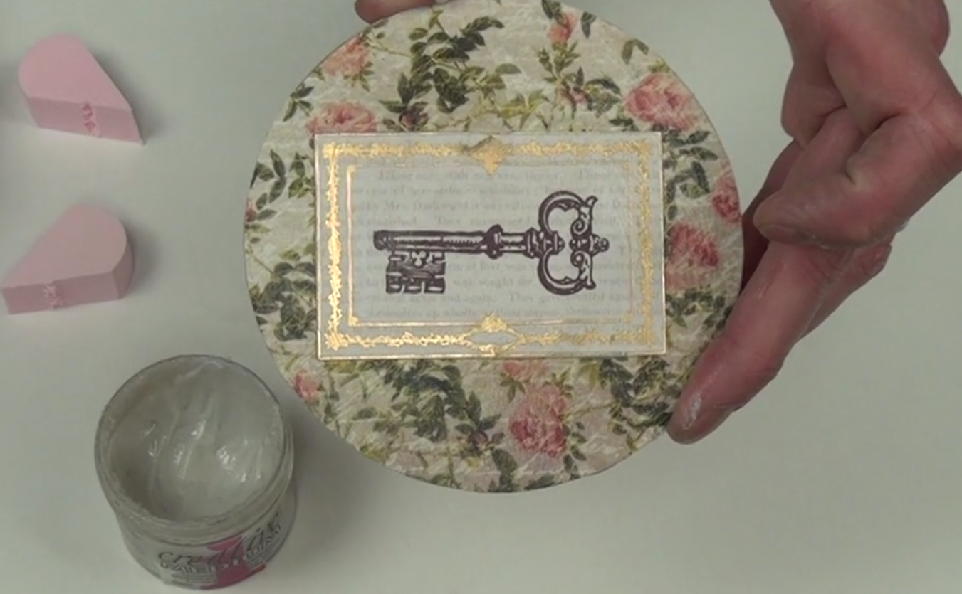 Decoupage Coasters in a Romantic Style - old fashion key stamp