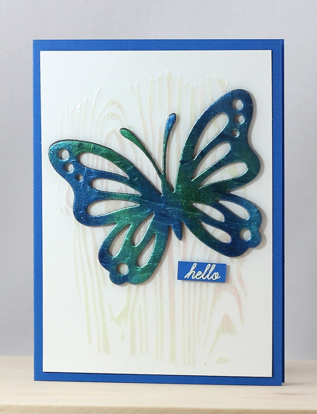 Iridescent Butterfly Hello Card with Creative Medium