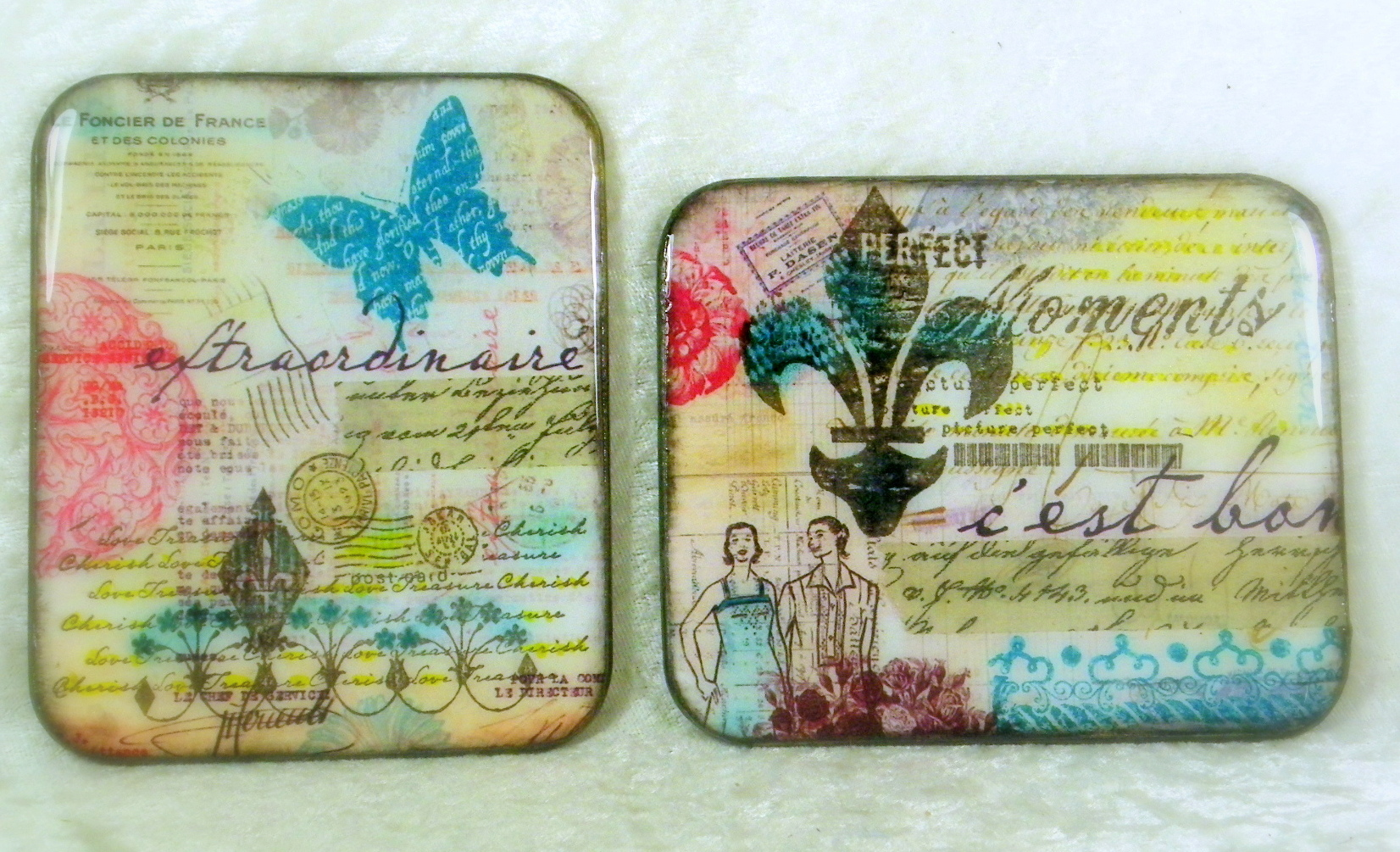 Upcycled Coasters with Memento Dye Ink and Resin