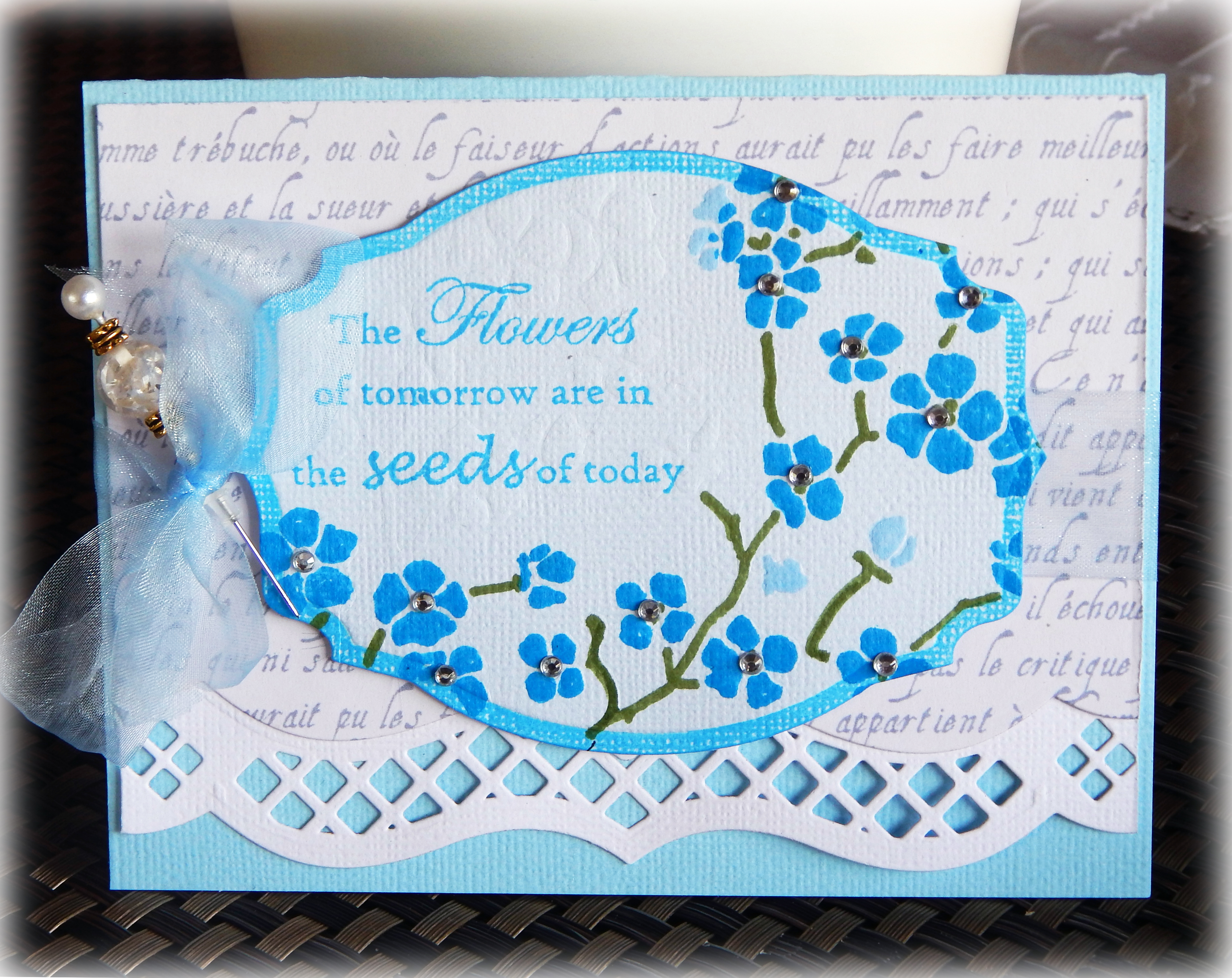Flowers of Tomorrow Card in Shades of Blue