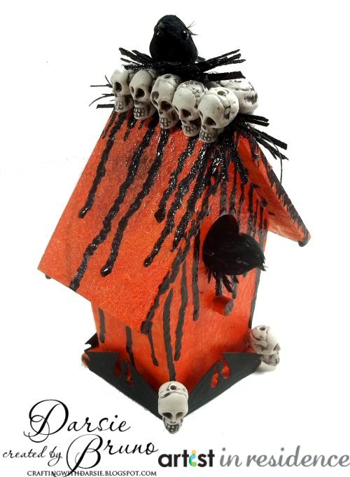 Halloween Birdhouse with Skulls and Crows