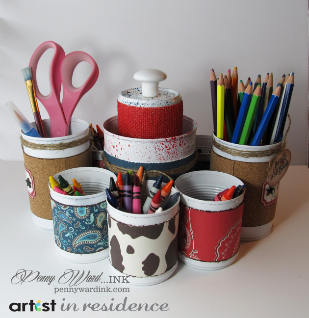 Memento Luxe for an Upcycled Soup Cans Desk Organizer