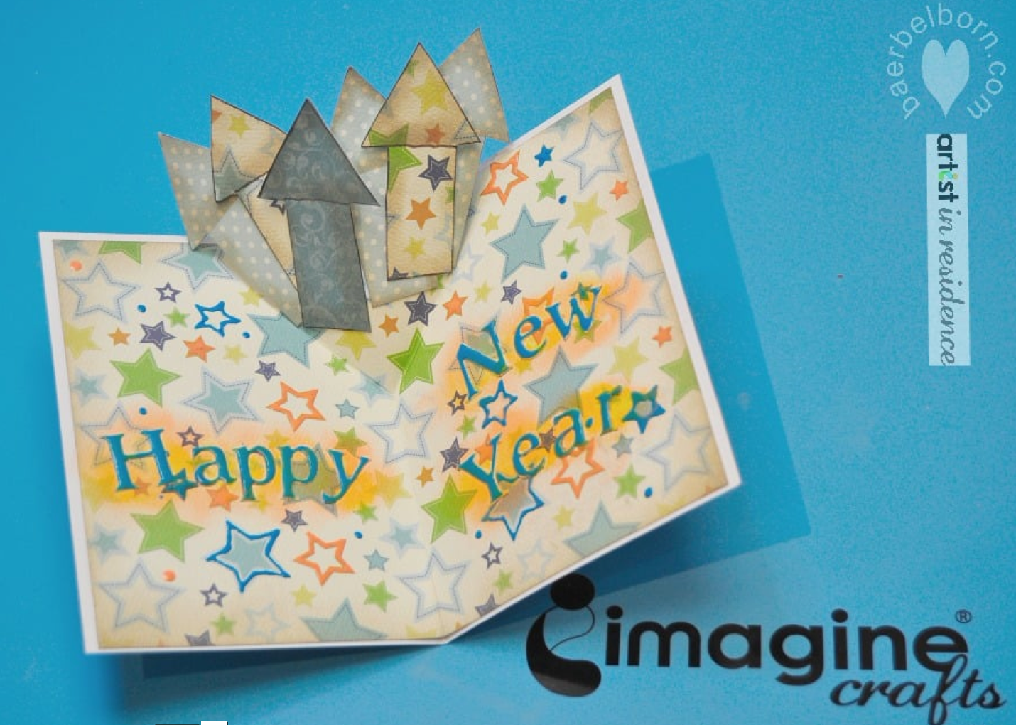 New Years Pop Up Card with Pigment Inks