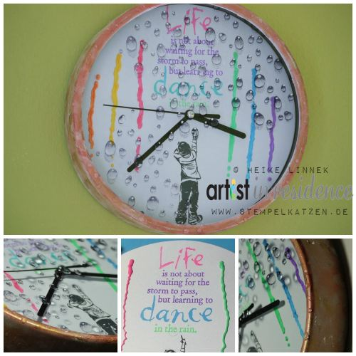 Dancing in the Rain Clock Craft with Radiant Neon Ink