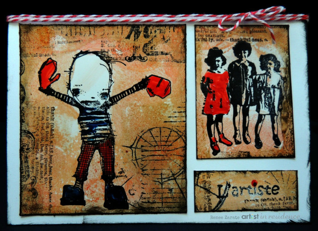 Create a distress art card with StazOn ink