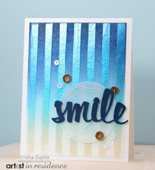 A Masculine SMILE Card with Iridescent Blue Creative Medium