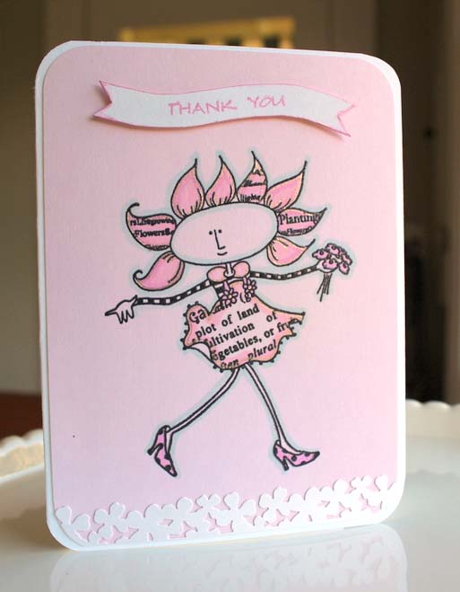 Brilliance Ink to Make a Pink Thank You Card