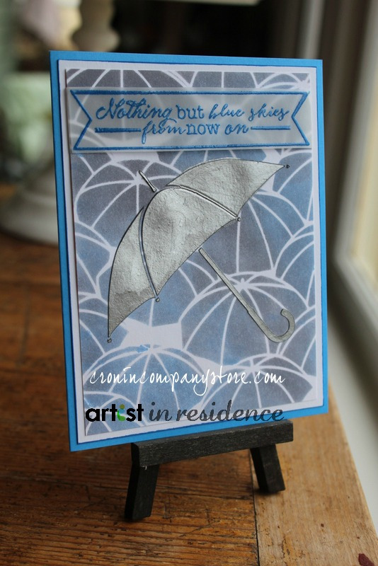April Showers Bring...an Umbrella Blue Skies Card with metallic hues