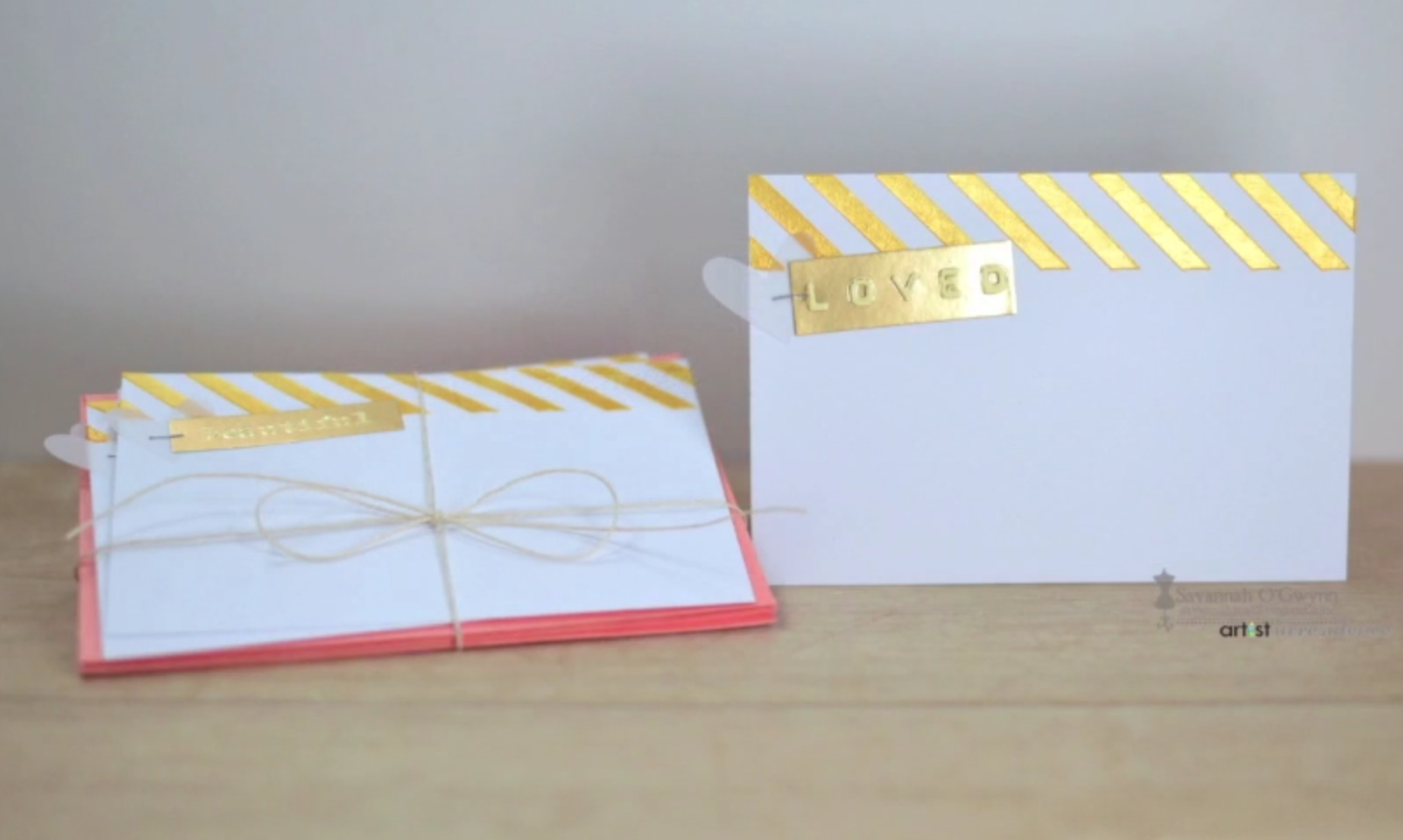 Creative Medium Card Stenciled Accents in Bright Gold